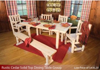 Rustic Cedar Solid Top Dining Table Group--Dining Top Dining Table